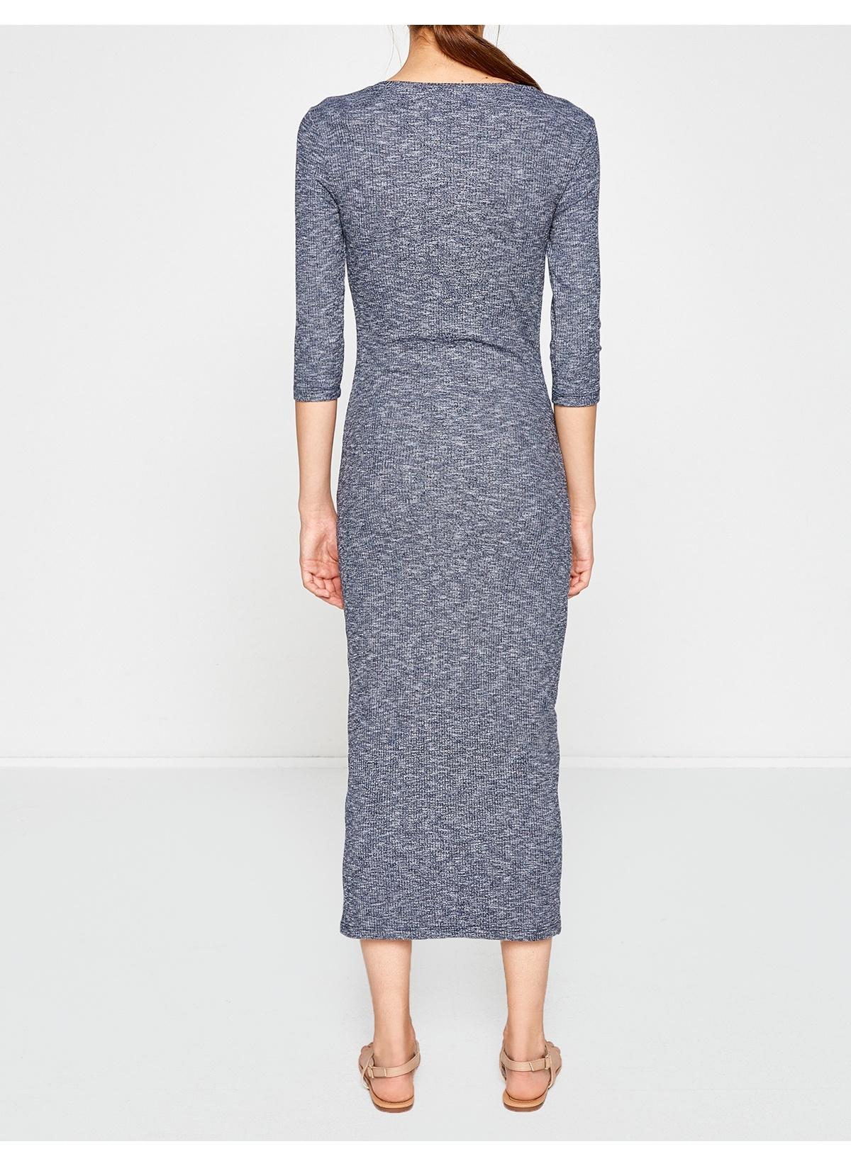 Koton Lacivert Uzun Elbise